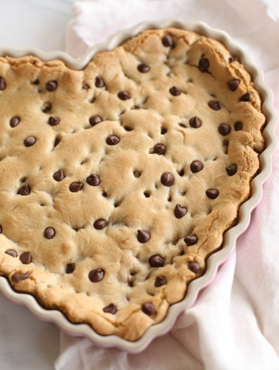 Heart Shaped Chocolate Chip Cookie Cake