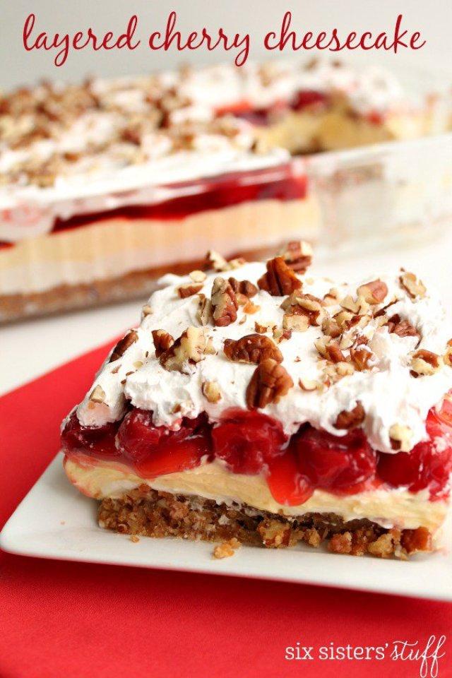 Layered Cherry Cheesecake
