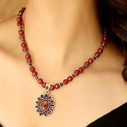 Garnet and Carnelian Necklace India Silver Jewelry, 'Passionate'