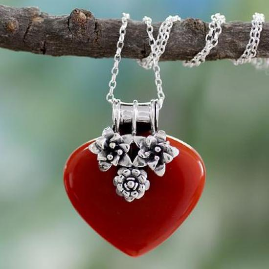 Heart Shaped Sterling Silver and Carnelian Necklace, 'Love Declared'