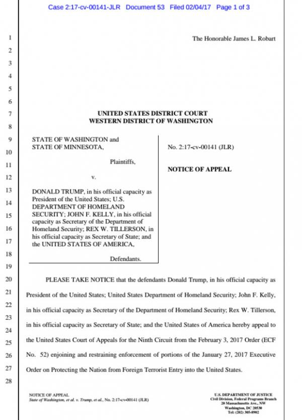Trump administration files formal notice of appeal on court order suspending immigration ban