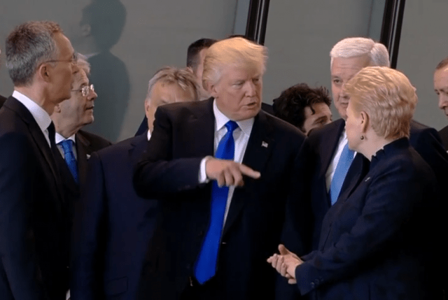 Watch: Trump Shoves NATO Leader Out Of The Way To Move To The Front Of The Group