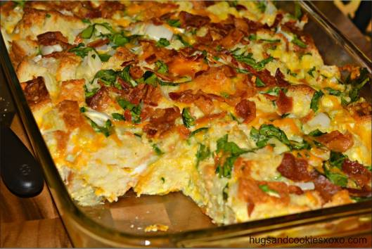Bacon Egg Cheese & Spinach Breakfast Casserole