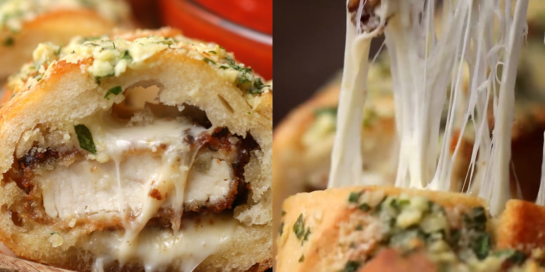 Chicken Parmesan Stuffed Garlic Bread