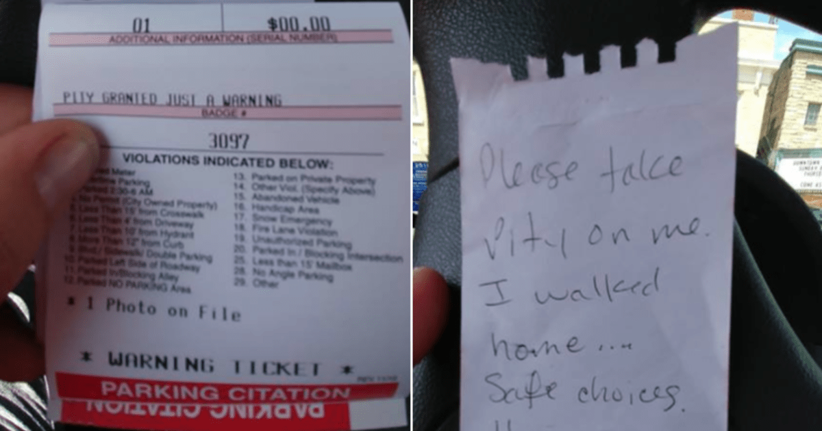 Wisconsin driver avoids parking ticket leaving a note asking officer to 'take pity'
