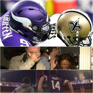 The two sides of football Vikings and Saints fans left delirious by 'Stefon Diggs'