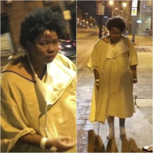 woman was left stranded on a Baltimore street at a bus stop wearing nothing but a hospital gown; Bystander posts a video to social media