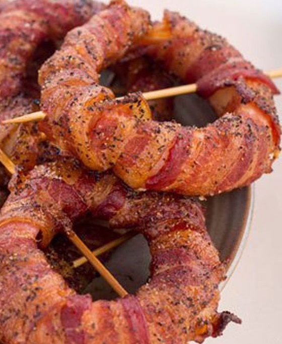 Smoked Bacon Wrapped Onion Rings