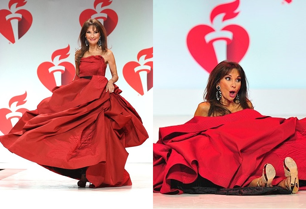Susan Lucci, 72, falls while walking the runway at American Heart Association