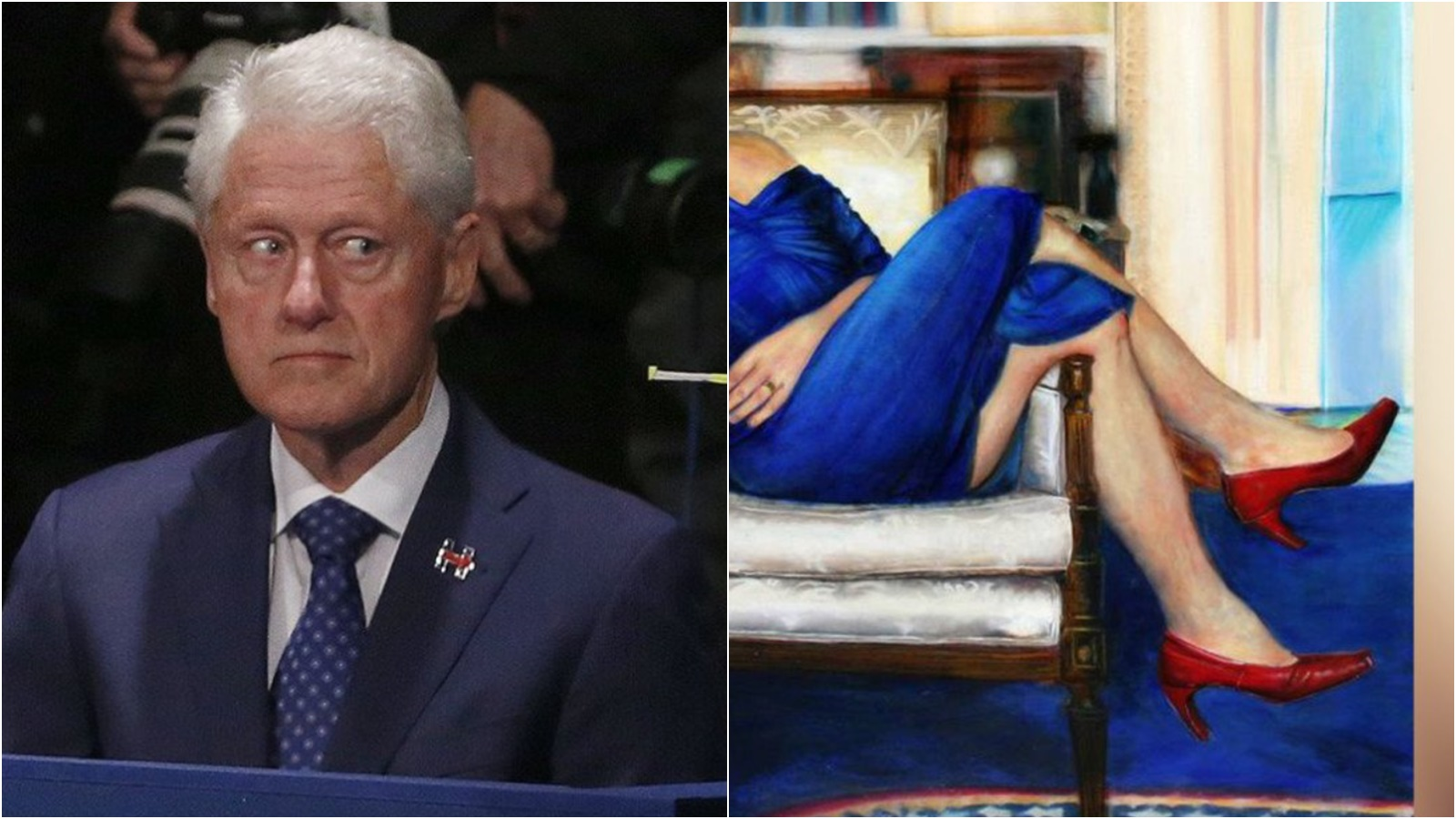 Jeffrey Epstein Had BIZARRE Painting Of Bill Clinton Wearing a Blue DRESS and Red Heels