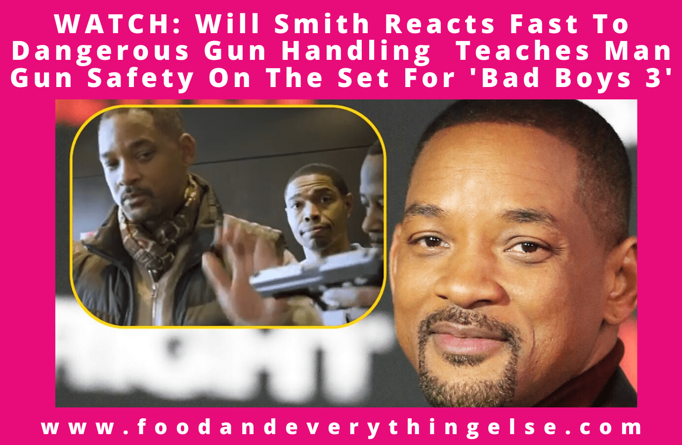 "Will Smith Reacts Fast To Dangerous Gun Handling Teaches Man Gun Safety On Set For ""Bad Boys 3,"""
