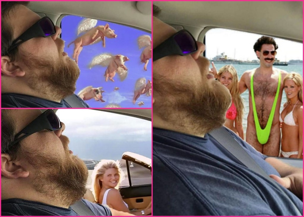Wife pulls prank on husband during a road trip; she asks people to Photoshop his picture