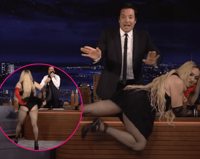 Madonna Sprawls on Jimmy Fallon's Desk and Flashes Her Rear to the Audience