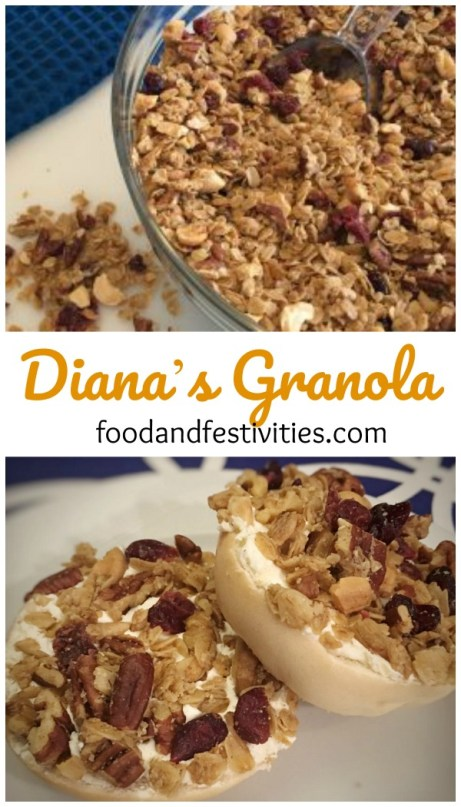 TThis granola is great to eat for breakfast as a bowl of cereal, to sprinkle over some yogurt and fruit, to make a parfait, or as a topping for a bagel smothered in cream cheese. #bagel #breakfast #granola #snack