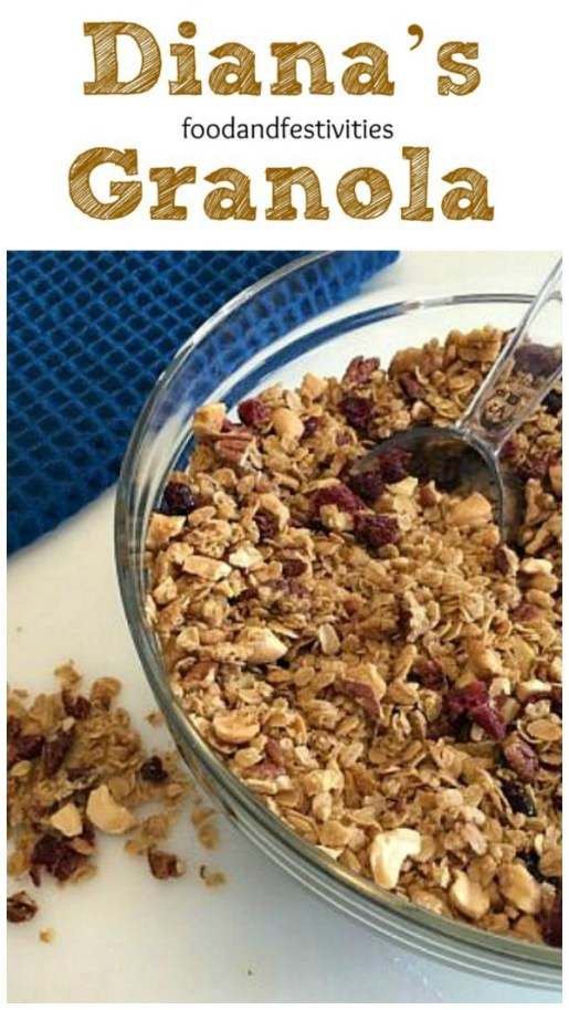This granola is great to eat for breakfast as a bowl of cereal, to sprinkle over some yogurt and fruit, to make a parfait, or as a topping for a bagel smothered in cream cheese. #bagel #breakfast #granola #snack
