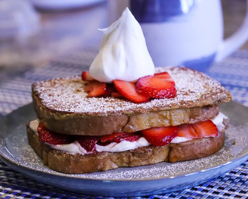 Stuffed Strawberry Sourdough French Toast