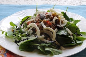 Egg Plant Parmesan Salad with Shaved Fennel and Watercress