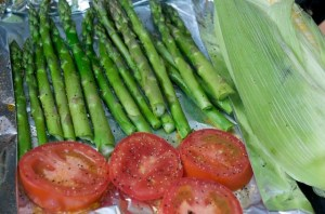 Grilled asparagus and tomatoes