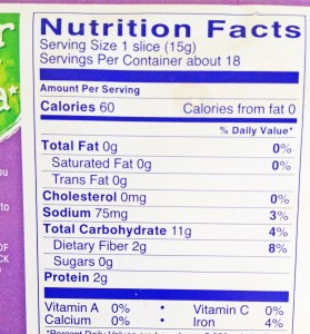 Wasa Cracker Nutrition Facts Panel