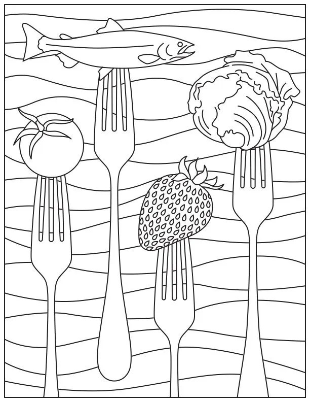 Printable Coloring Page for National Nutrition Month Food and