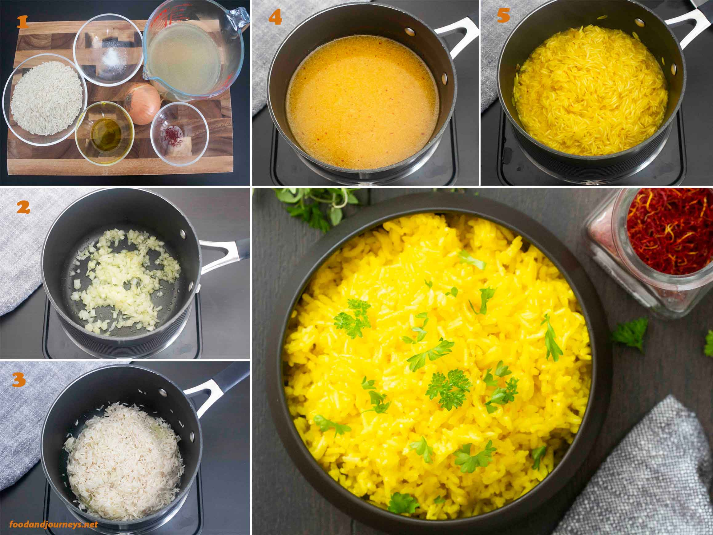 A collage of images showing how to prepare Saffron Rice.