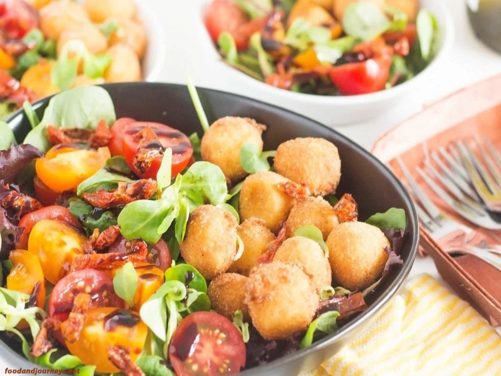 Fried Mozzarella & Tomato Salad|foodandjourneys.net