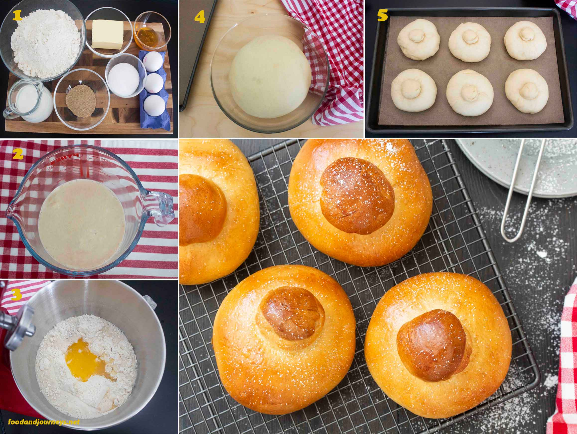 A collage of images showing the step by step process on how to make Sicilian Brioche
