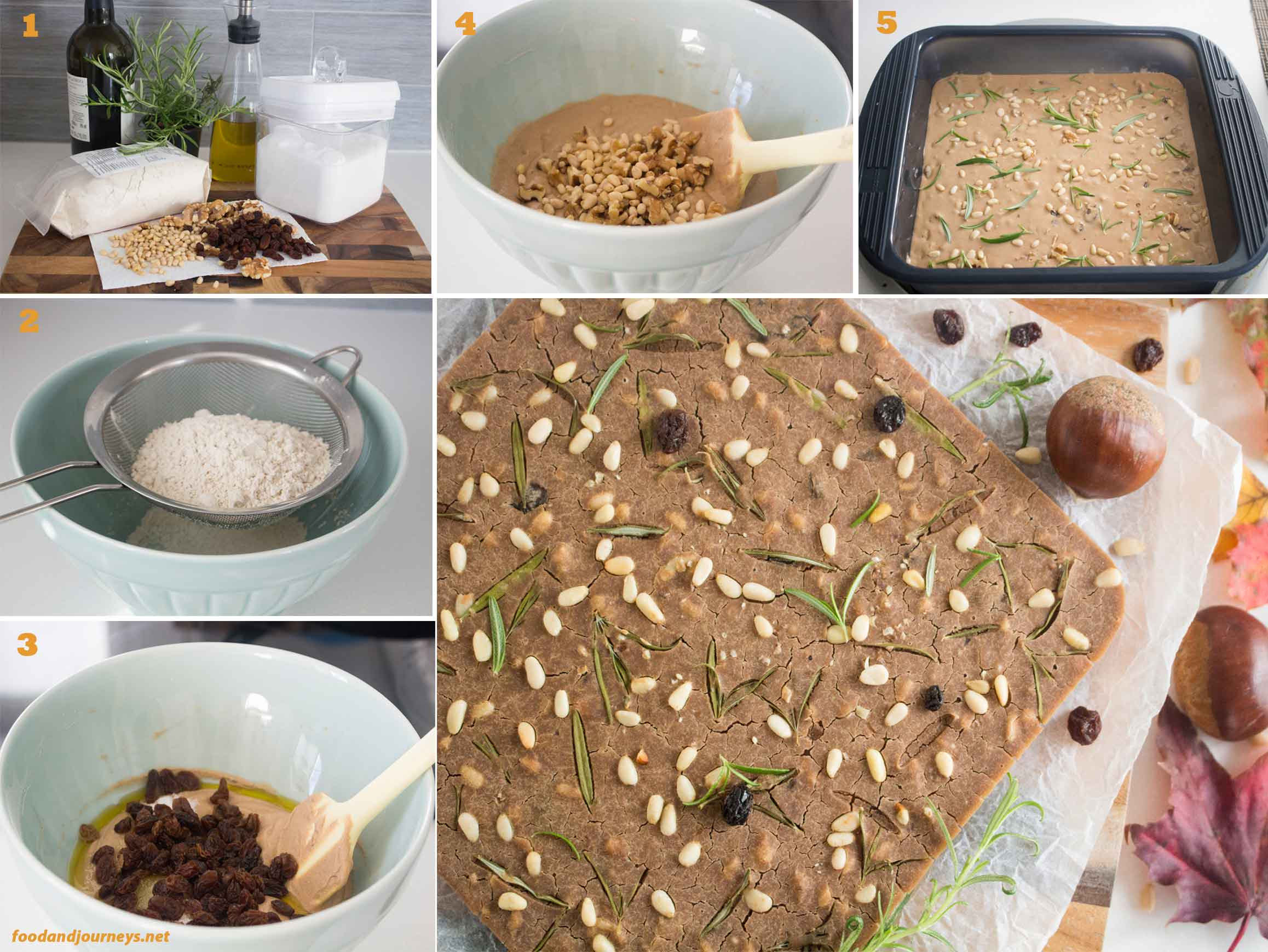 Collage of images showing the steps on making tuscan chestnut cake|foodandjourneys.net