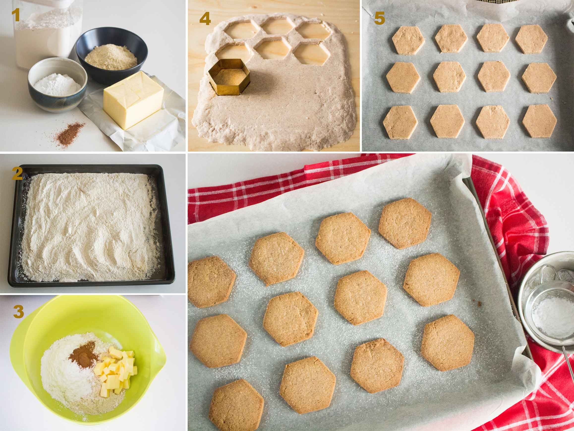 Collage of images showing the steps in making Spanish Polvorones|foodandjourneys.net