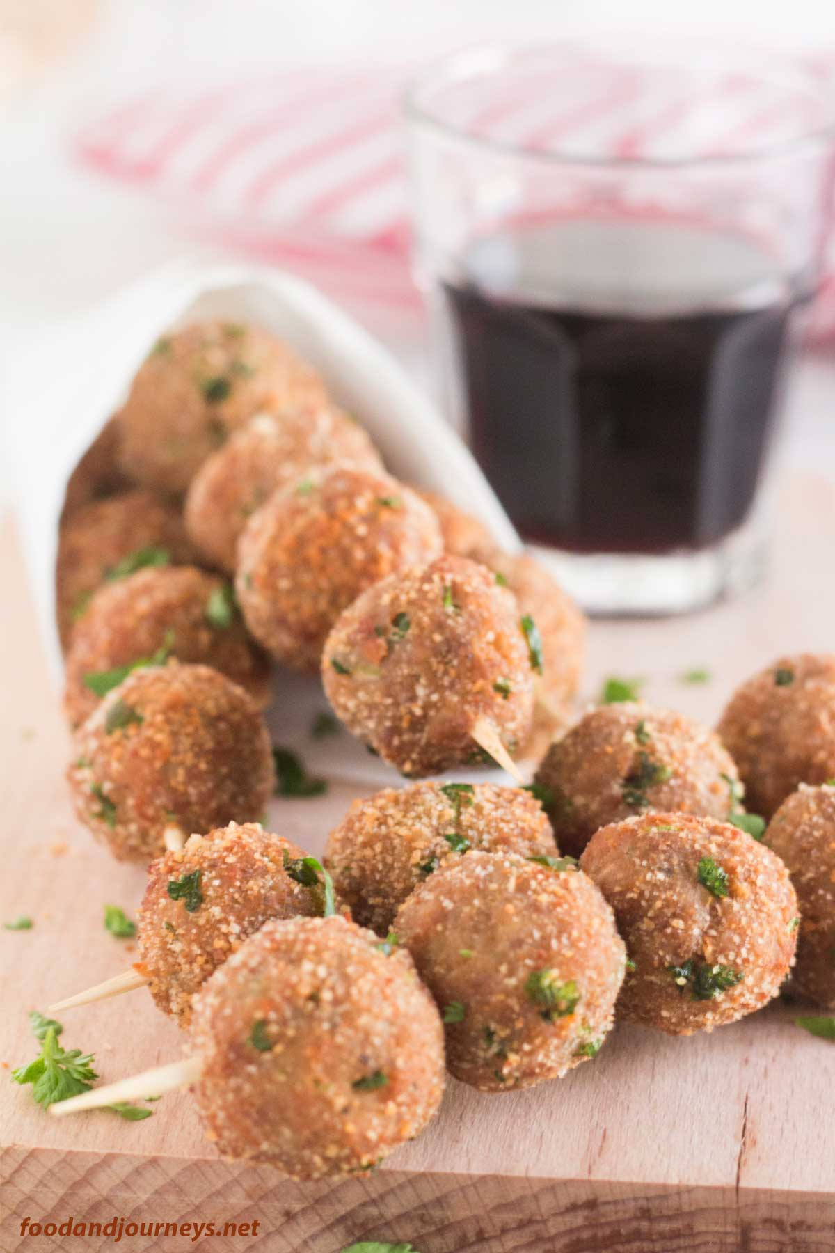 Closer shot on serving Mini Meatballs (Polpettine di carne)|foodandjourneys.net