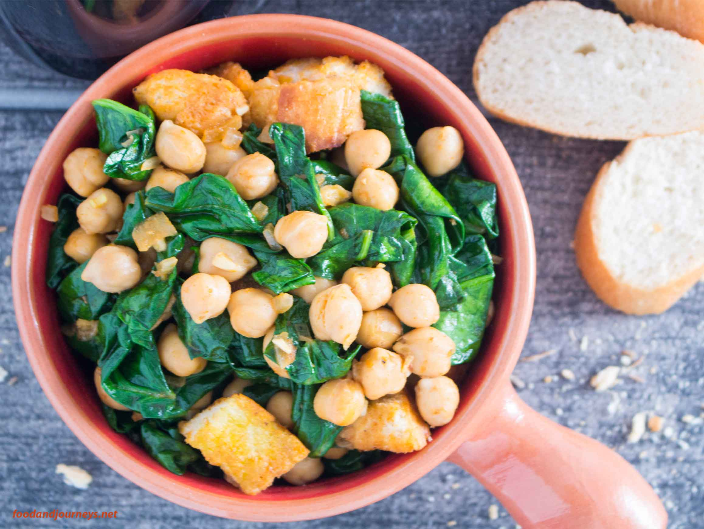 Overhead shot of Spanish Spinach with Chickpeas (Espinacas con Garbanzos)|foodandjourneys.net