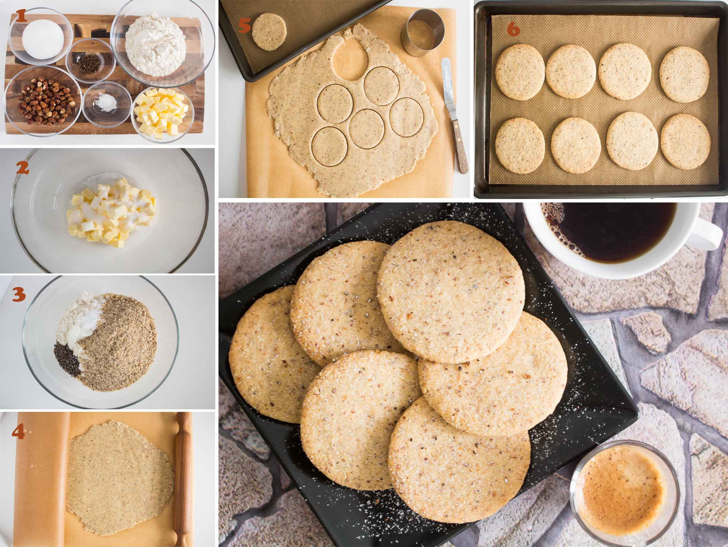 Collection of mages showing the steps on how to make Swedish Hazelnut & Cardamom Cookies