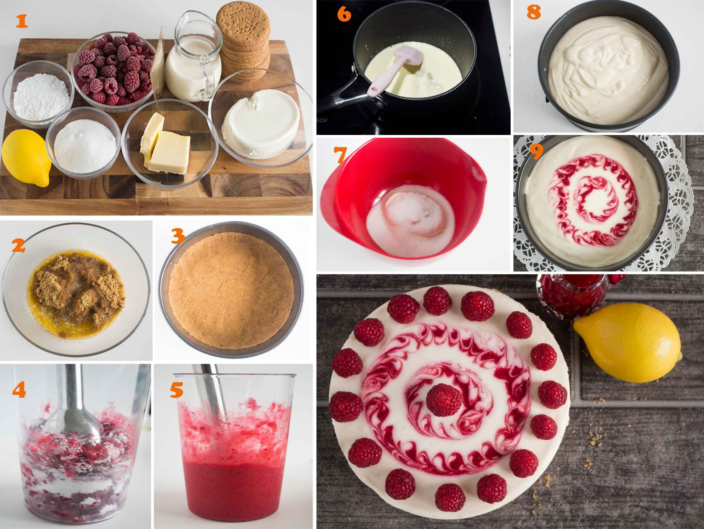 An image showing the steps on how to make lemon-raspberry no bake cheesecake|foodandjourneys.net