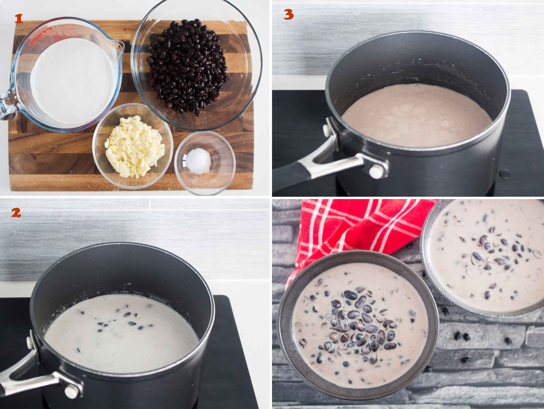 Collage of images showing the steps in making Thai Black Beans in Coconut Milk.