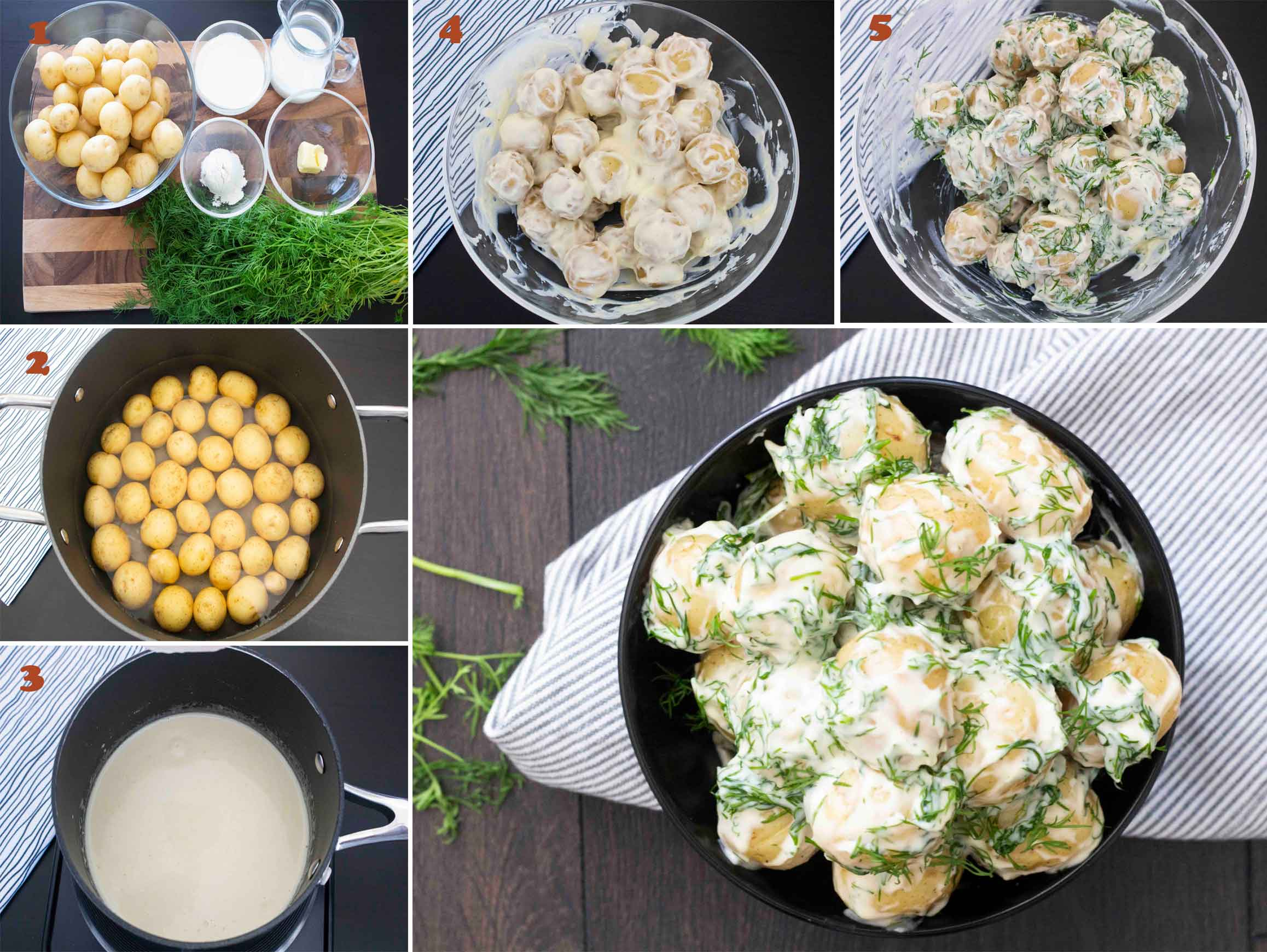 A collage of images showing steps on how to make Swedish Potatoes with Dill Cream Sauce