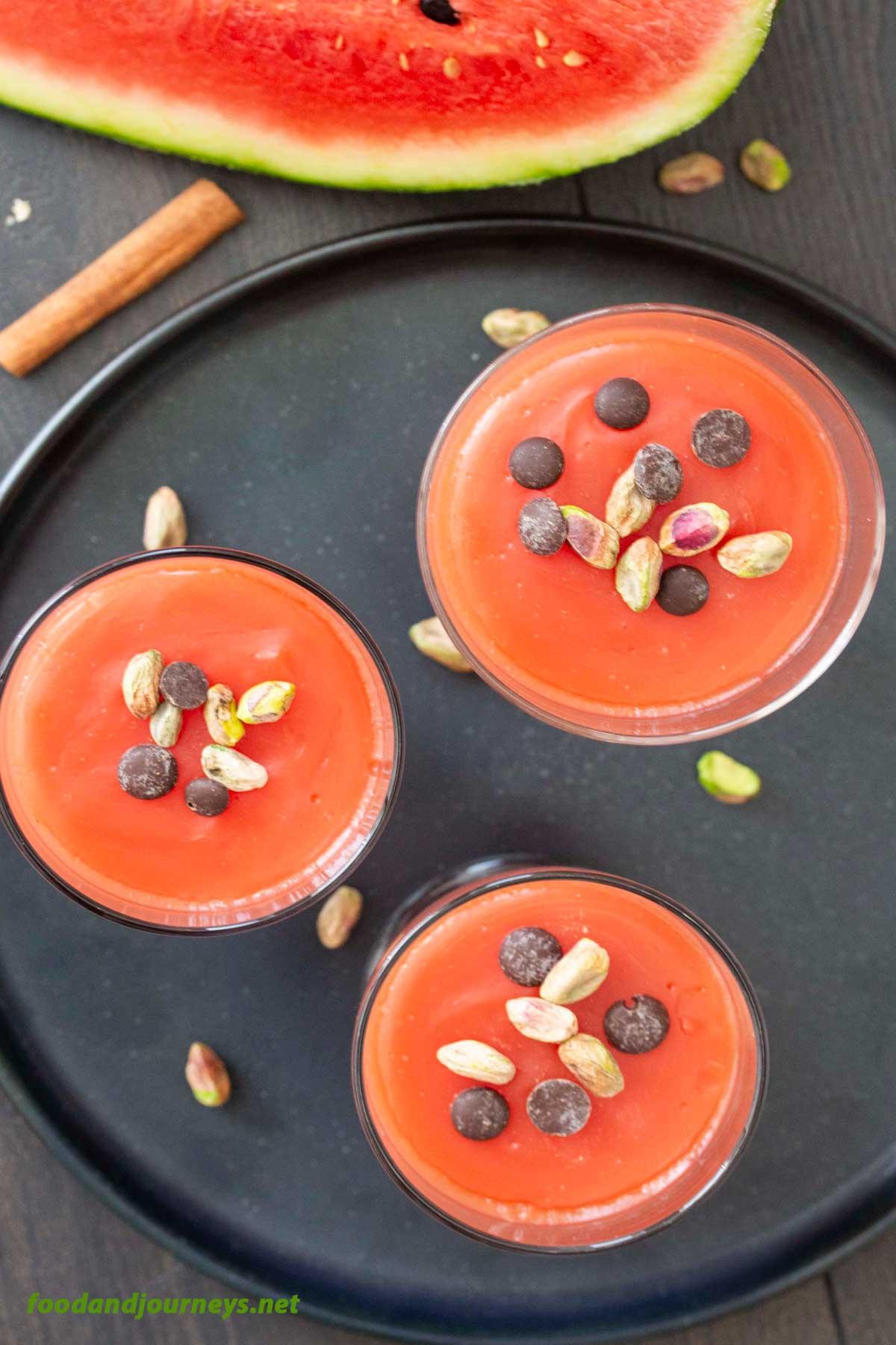 Overhead shot of servings of Sicilian Watermelon Jelly (Gelo di Anguria).