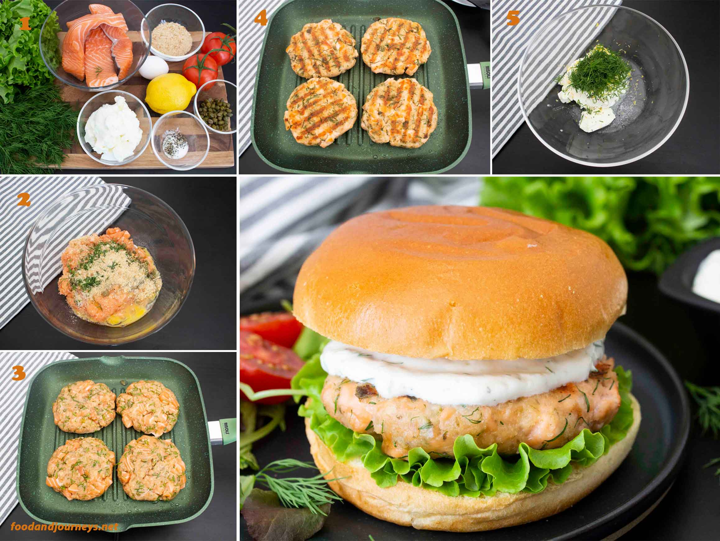 A collage of images showing the step by step process on how to make Swedish Salmon Burger with Lemon Yogurt Sauce.
