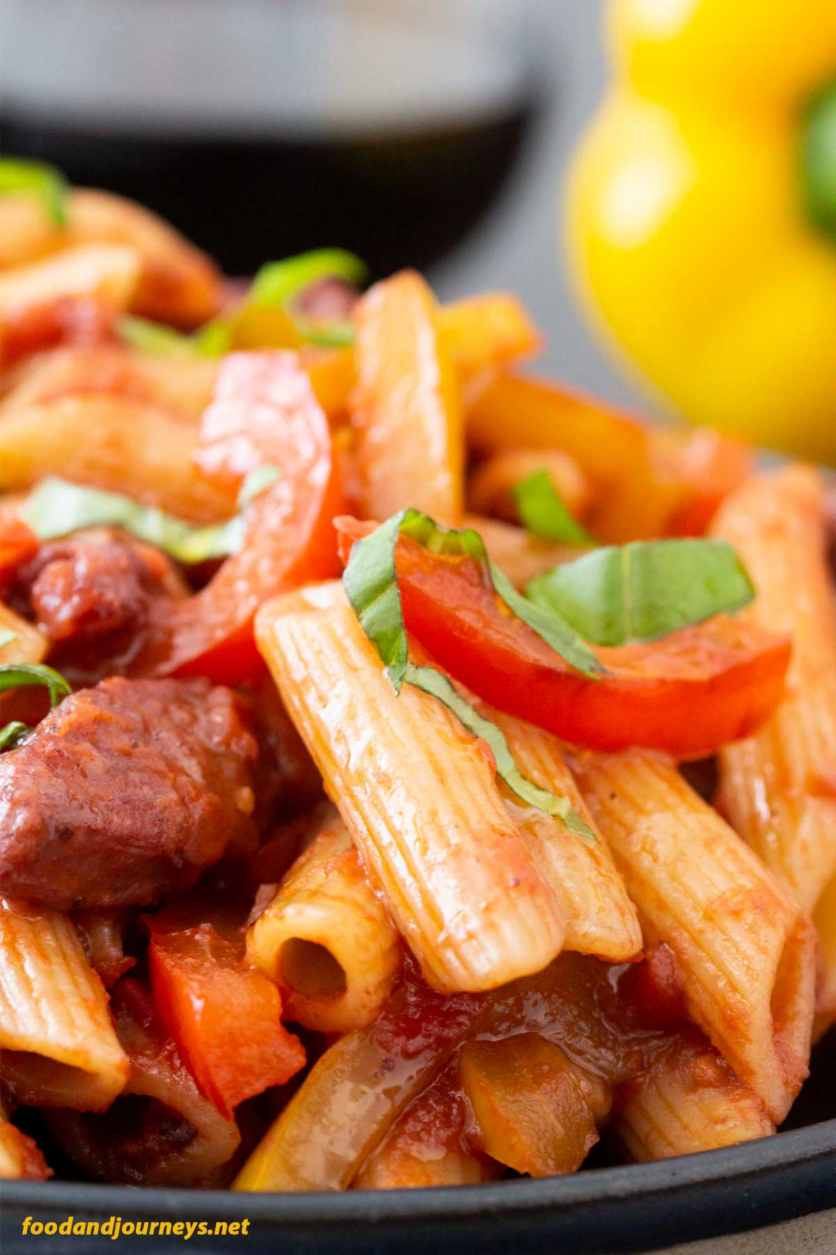 Closer shot of Pasta with Sausage and Peppers.