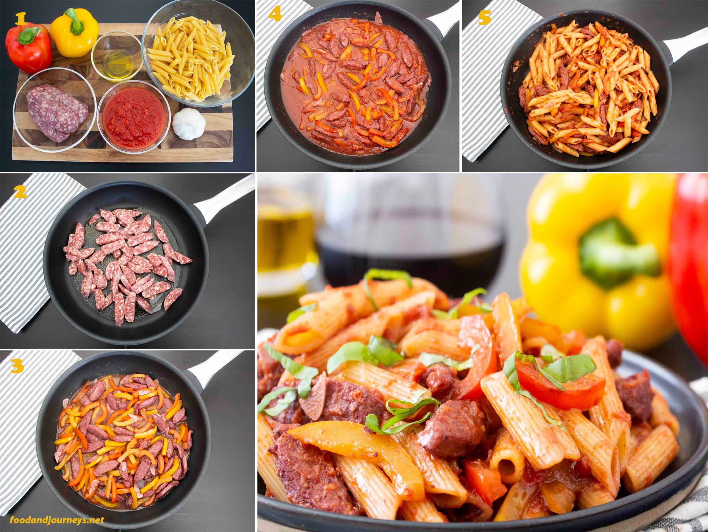 Collage of images showing the step by step process on how to make Pasta with Sausage and Peppers.