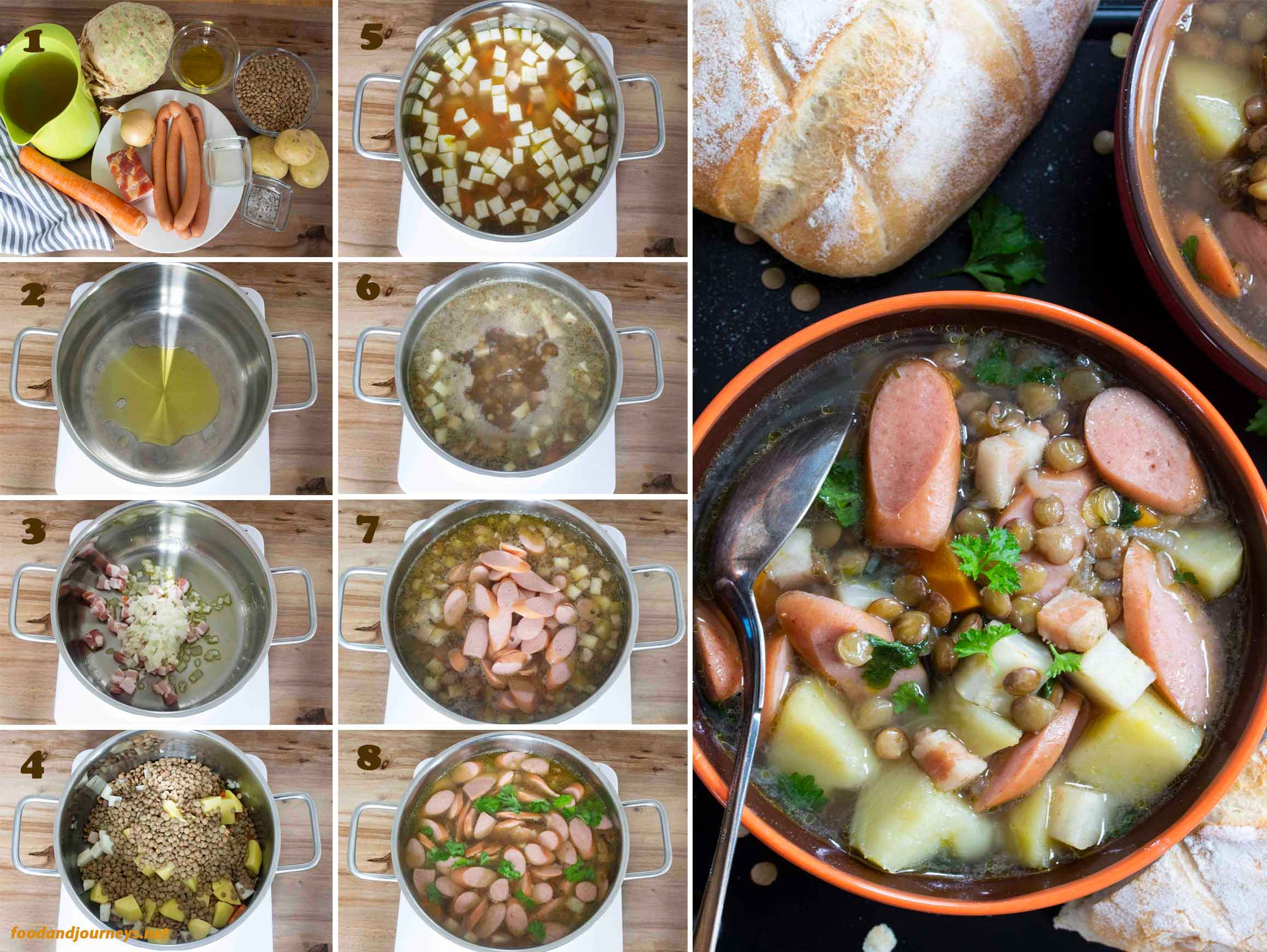 A collage of images showing the step by step process on how to make German Lentiil Soup with Frankfurters.