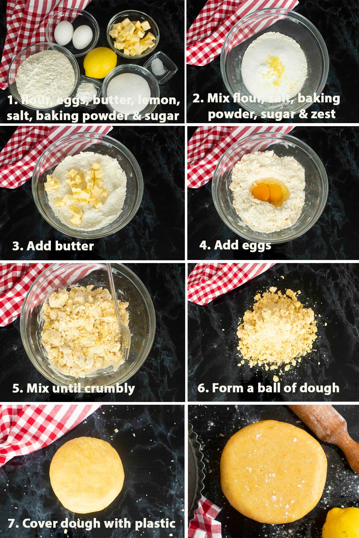 A collage of images with description showing the step by step process on how to make Pasta Frolla
