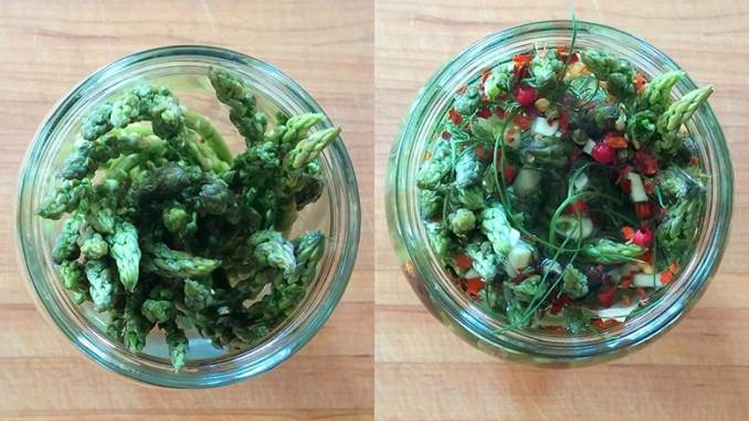 Fermented picked asparagus