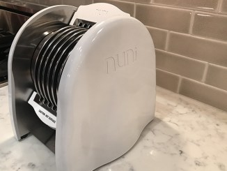 The Nuni Tortilla Toaster on a marble countertop