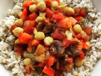 Apricot Tomato Chickpea Vegetarian Stew in a bowl