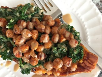 Spiced Chickpea and Kale Stuffed Sweet Potatoes