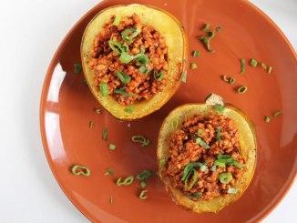 Smoky Tempeh Stuffed Acorn Squash - Food & Nutrition Magazine - Stone Soup