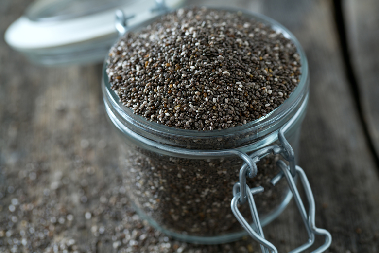chia seeds in a jar with lid