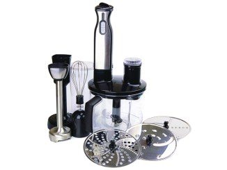 A food processor and its implements on a white background