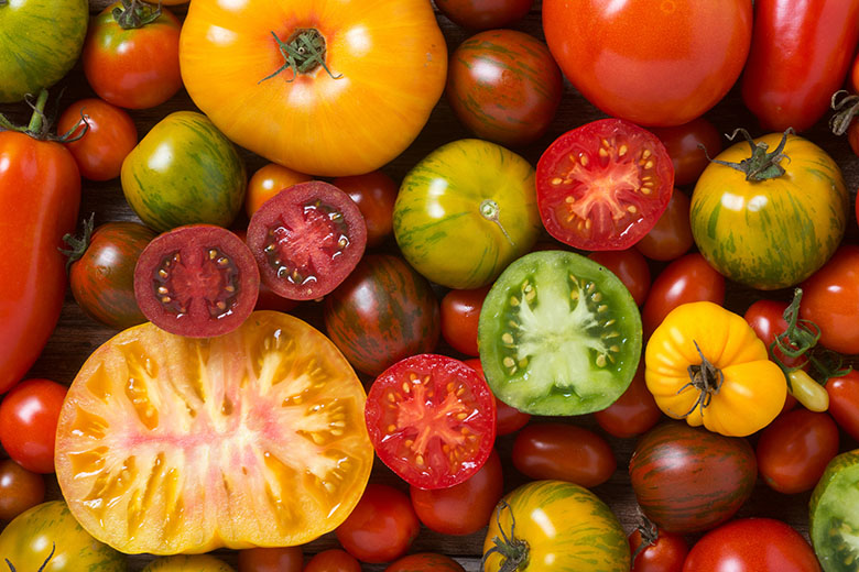 Close up of colourful tomatoes, some sliced, shot from above