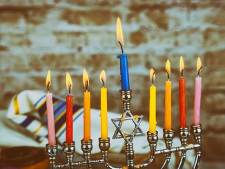 Close up of candle wax melting channukah. Hanukkah, the Jewish Festival of Lights